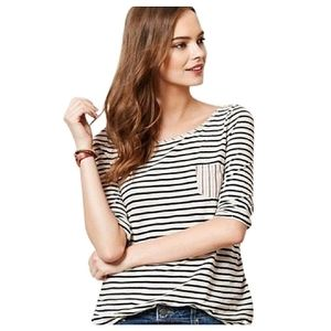 Anthropologie Postmark Striped Button Back Top S